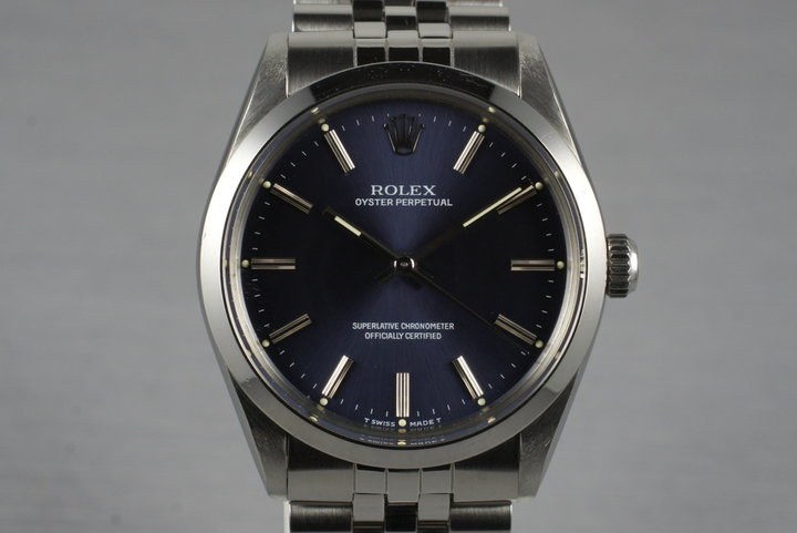 1988 Rolex Oyster Perpetual Blue Dial 1002 with RSC Papers photo