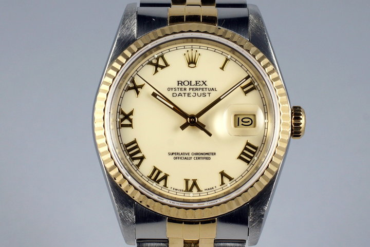 1988 Rolex Two Tone DateJust 16233 Cream Roman Dial photo