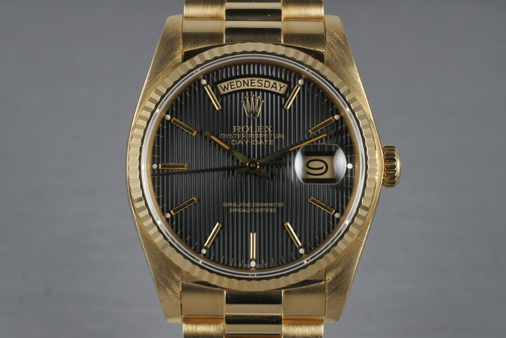 1982 Rolex YG Day Date 18038 with Black Tapestry Dial photo