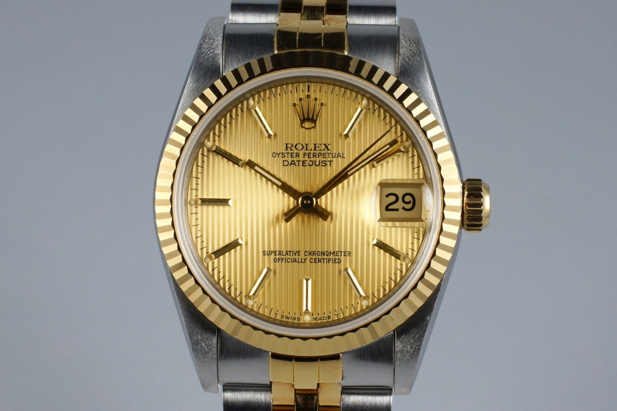 1997 Rolex MidSize Two Tone Datejust 68273 with Champagne Tapestry Dial photo, #0