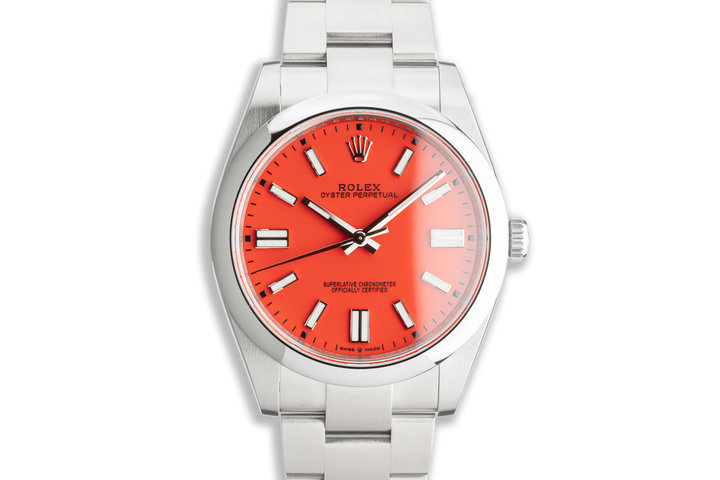2021 Unworn 41mm Rolex Oyster Perpetual Coral Red 124300  Dial Box & Card photo