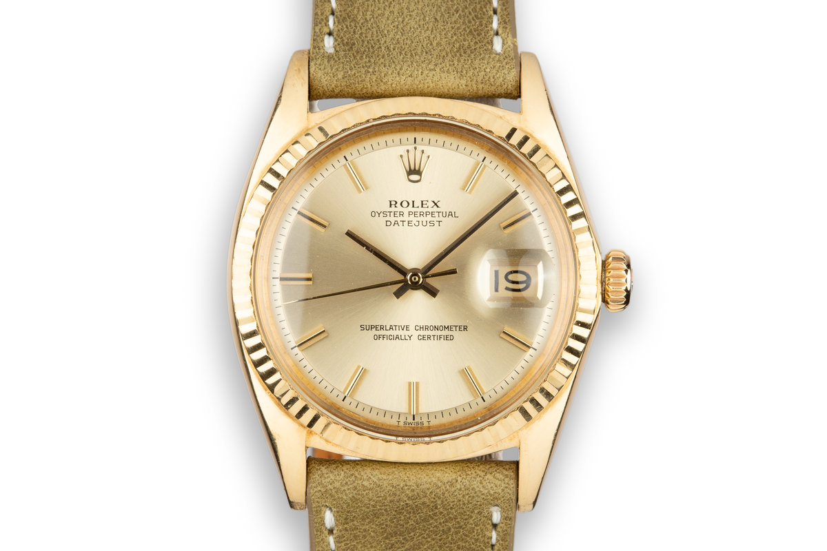 1969 Rolex 18K YG DateJust 1601 with No Lume Champagne Dial photo, #0