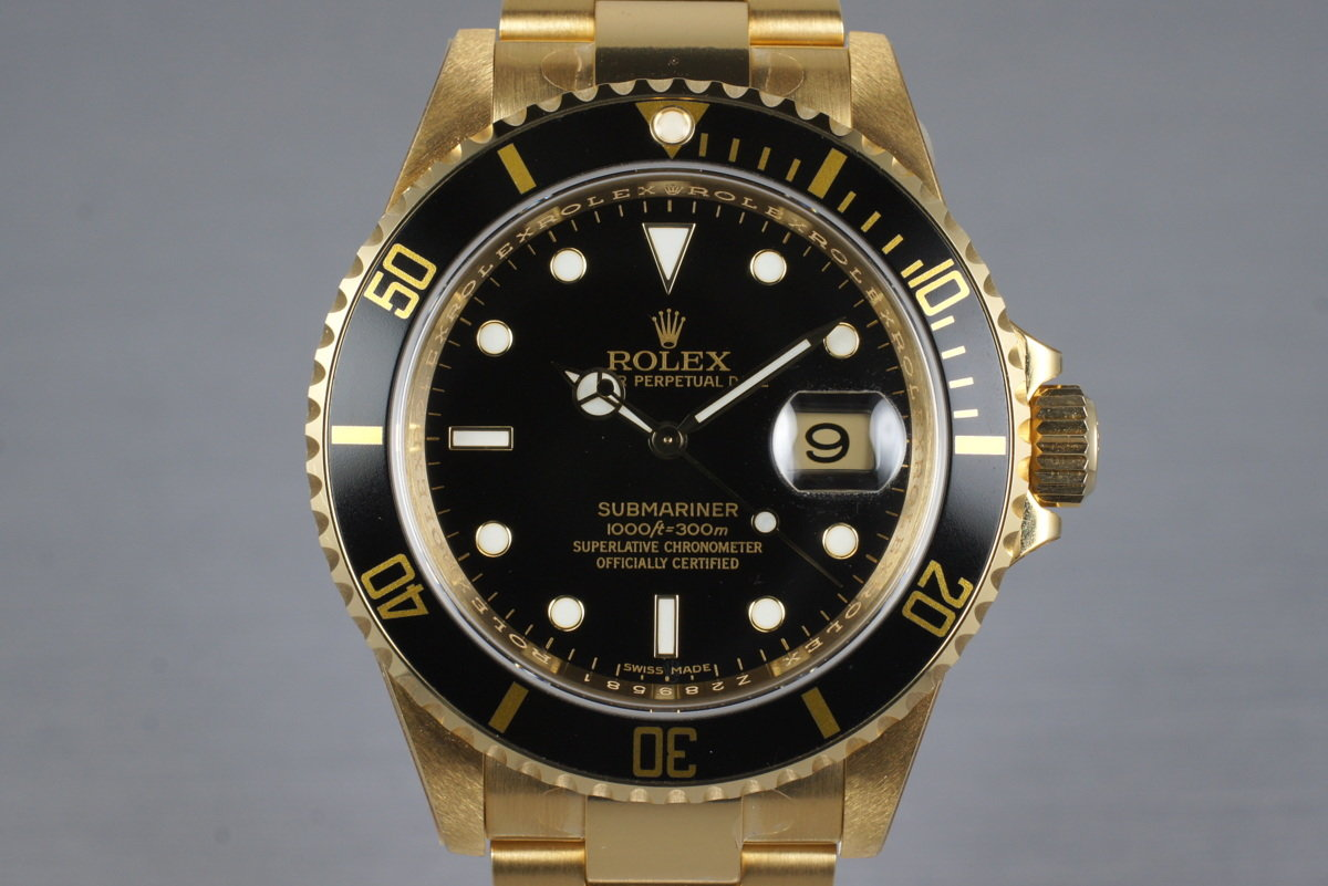 2006 Rolex YG Submariner 16618 with Box and Papers MINT with stickers photo, #0