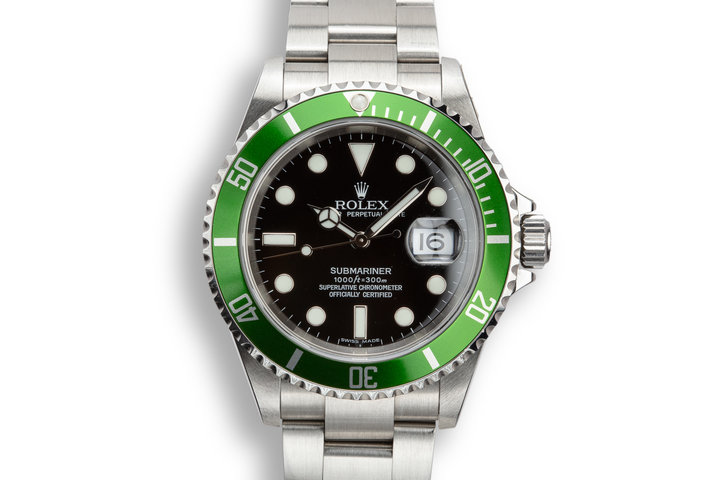 2005 Rolex Anniversary Green Submariner 16610LV with Box and Papers photo
