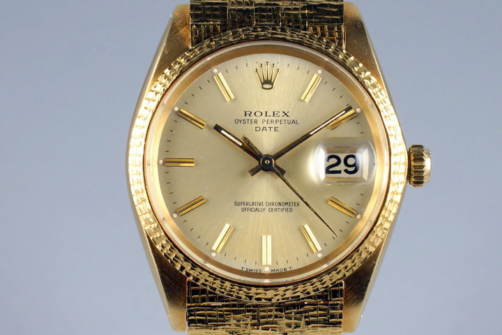 1966 Rolex 18K YG Date 1508 with Rare Brick Style Bracelet photo