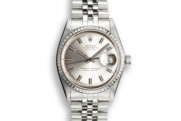 "1969 Rolex DateJust 1603 with Silver ""Wide Boy"" Dial photo"