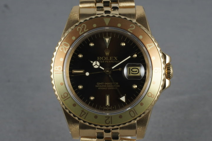 1981 Rolex GMT 18K with Root Beer Nipple Dial 16758 photo