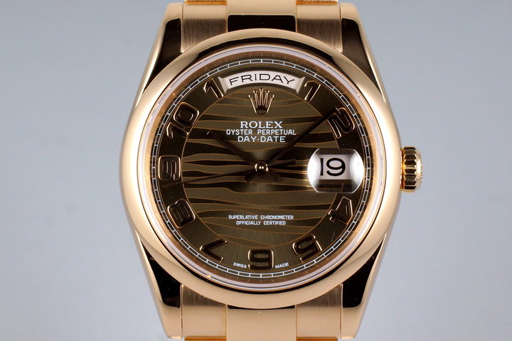 2000 Rolex Rose Gold Day-Date 118205 Brown Wave Dial with Box and Papers photo