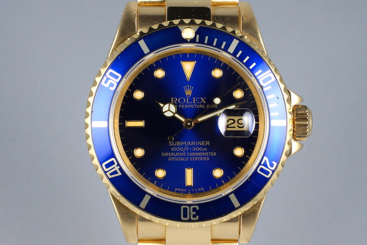 1991 Rolex YG Blue Submariner 16618 photo, #0