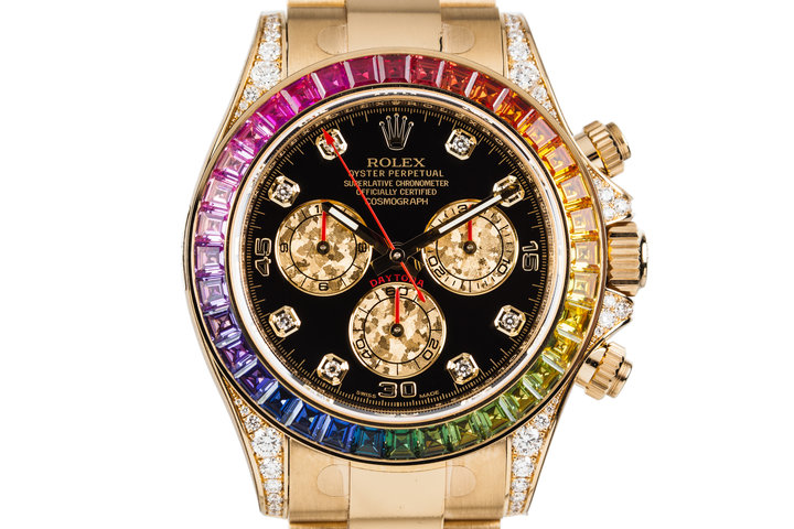 "Rolex 18K YG ""RAINBOW"" Daytona 116528RBOW with Box and Papers photo"