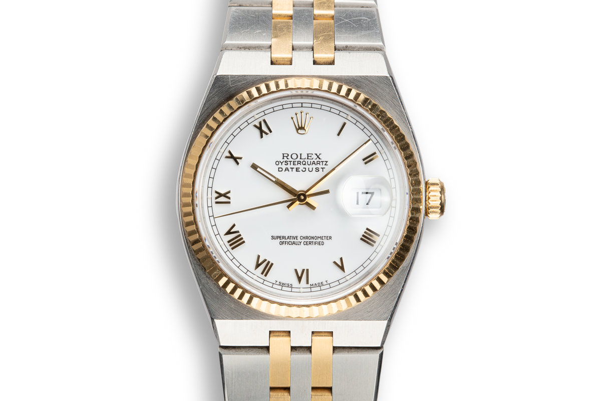 1991 Rolex Two Tone OysterQuartz DateJust 17013 with White Roman Numeral Dial photo, #0