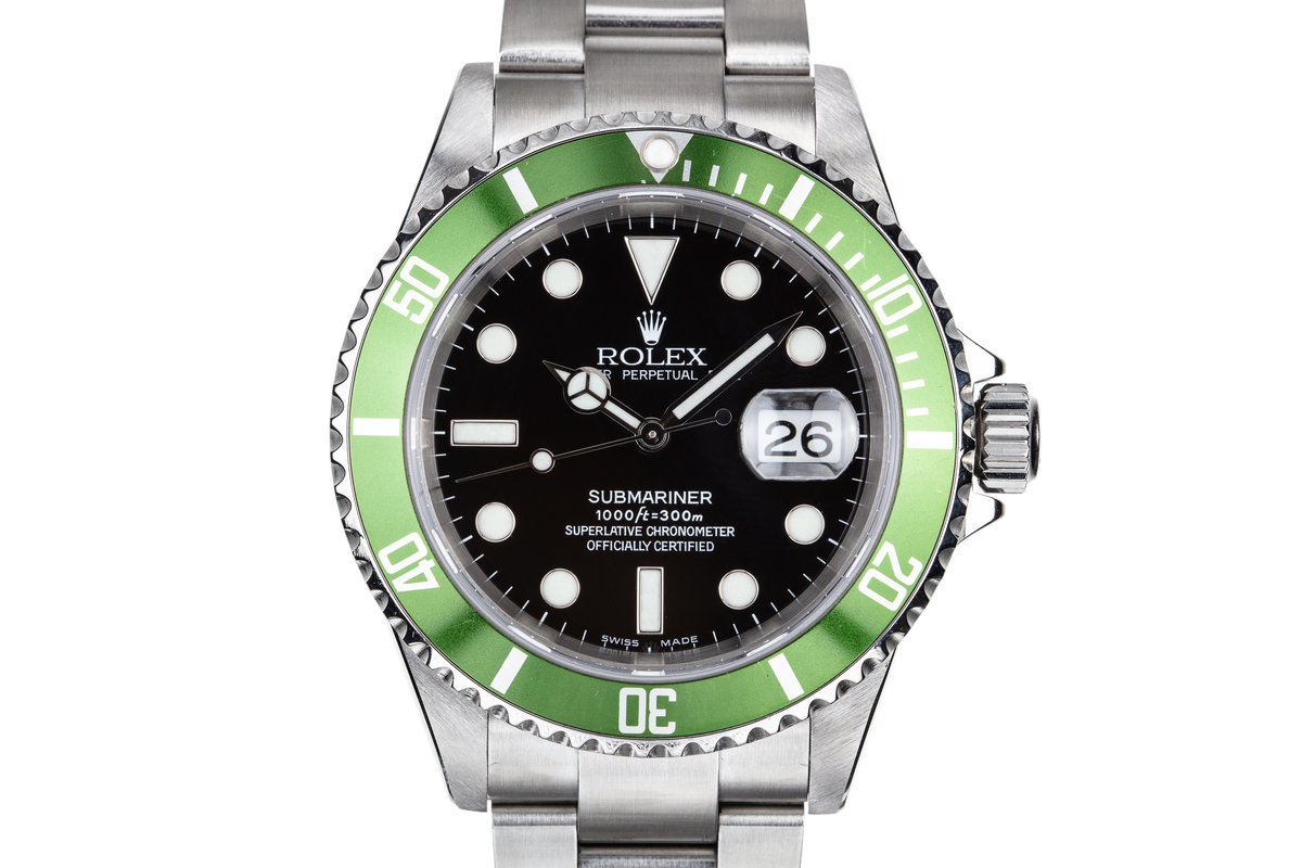 2003 Rolex Green Anniversary Submariner 16610LV MK I Dial with Box and Papers photo, #0