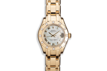 Rolex Ladies YG Pearlmaster Datejust 80318 Mother of Pearl Dial and 12 Diamond Bezel photo