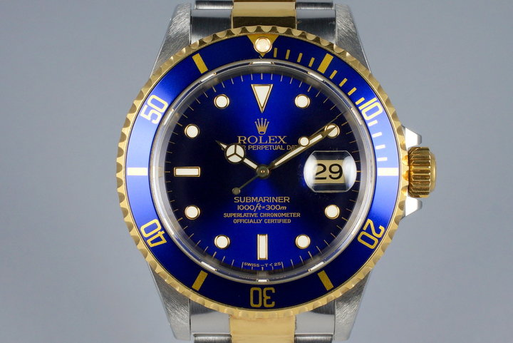 1995 Rolex Two Tone Blue Submariner 16613 photo