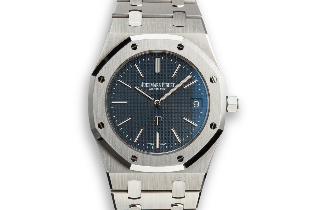 2015 Audemars Piguet Royal Oak Jumbo Extra Thin 15202ST.OO.1240ST.01 Blue Dial with Box and Papers photo, #0