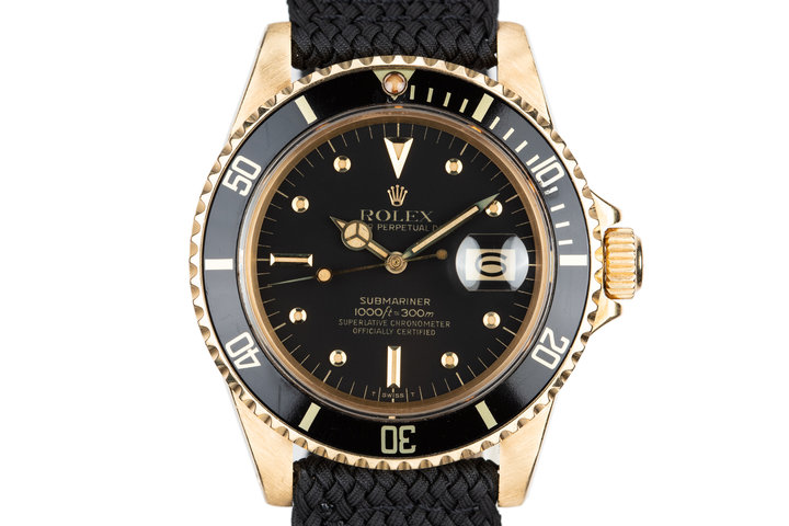 1981 Rolex 18K YG Submariner 16808 Black Nipple Dial photo