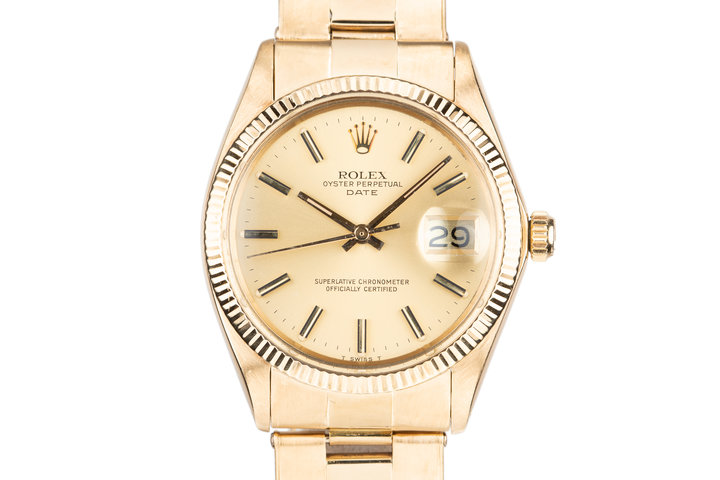 1972 Rolex 18K YG Date 1503 Champagne Dial photo