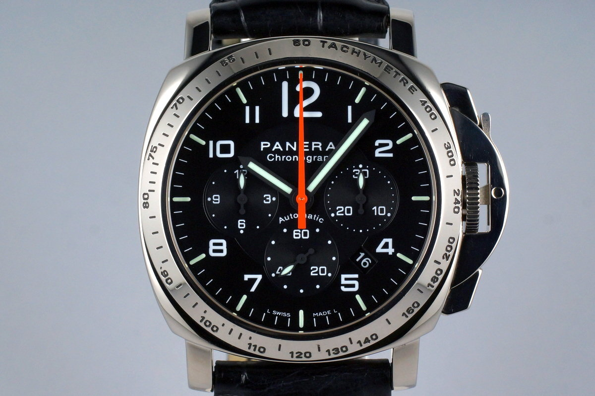 2002 Panerai PAM 105 White Gold Chrono with Box and Papers photo, #0
