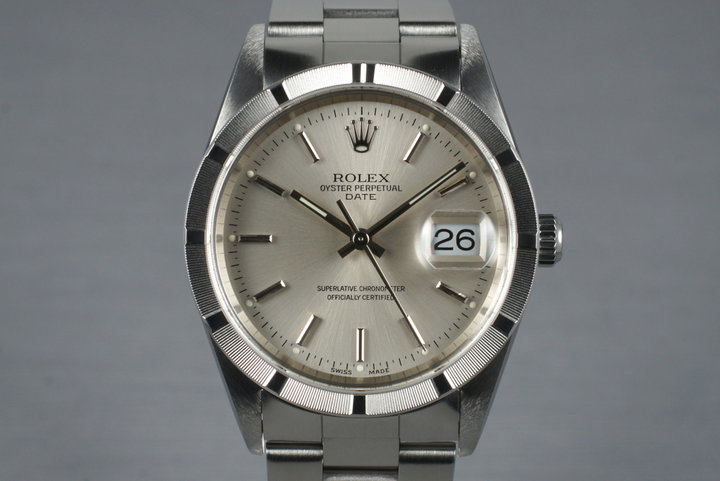 2001 Rolex Silver Dial Date 15210 with Box & Papers photo