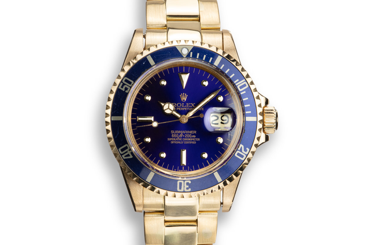 1972 Rolex 18K YG Submariner 1680 Blue Nipple Dial photo, #0