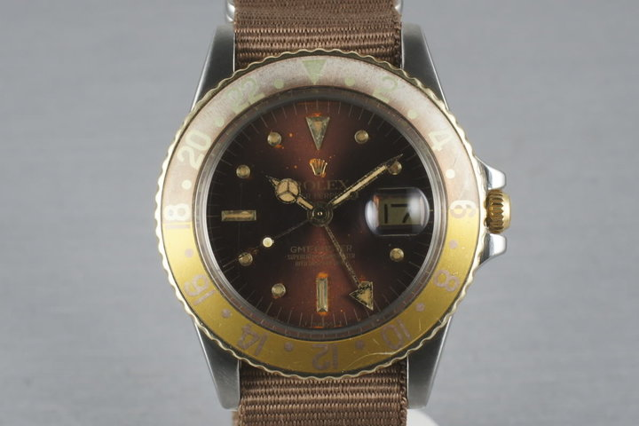 Rolex GMT Two Tone 1675 with root beer nipple dial with faded insert photo
