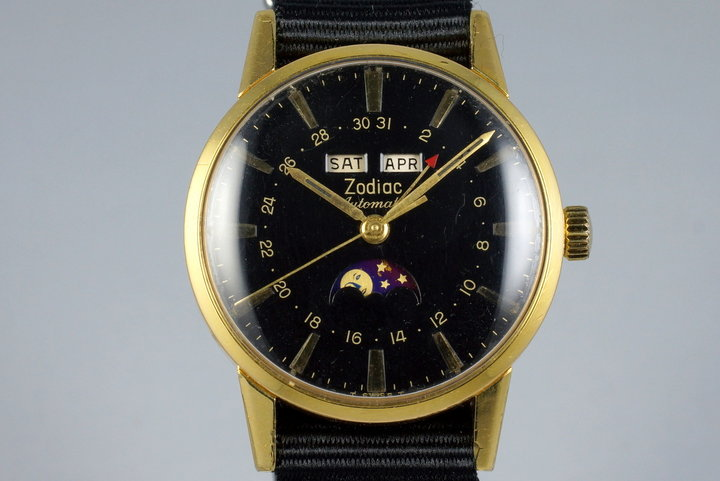 Late 1950's Zodiac YG Triple Date Moonphase Automatic 743-908 photo