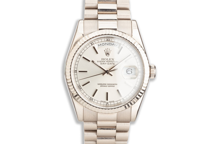 2000 Rolex 18K WG Day-Date 118239 Stick Dial photo