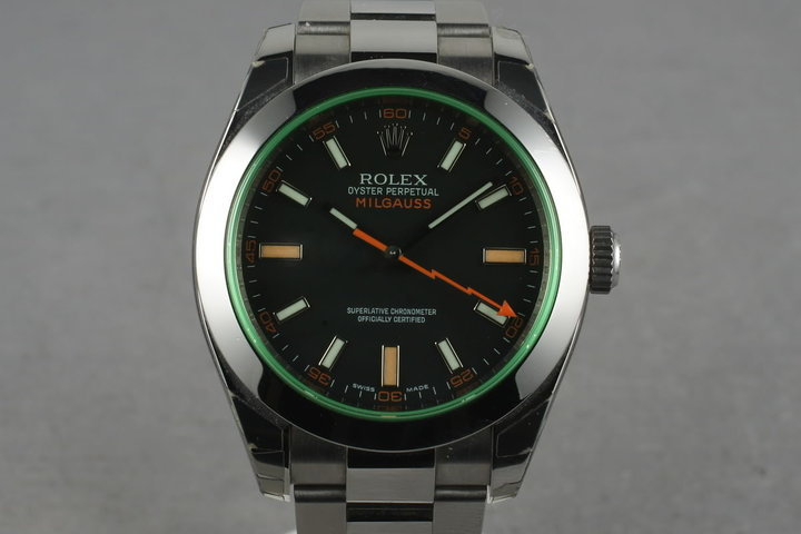 2009 Rolex Milgauss Green 116400 GV with Box and Papers photo