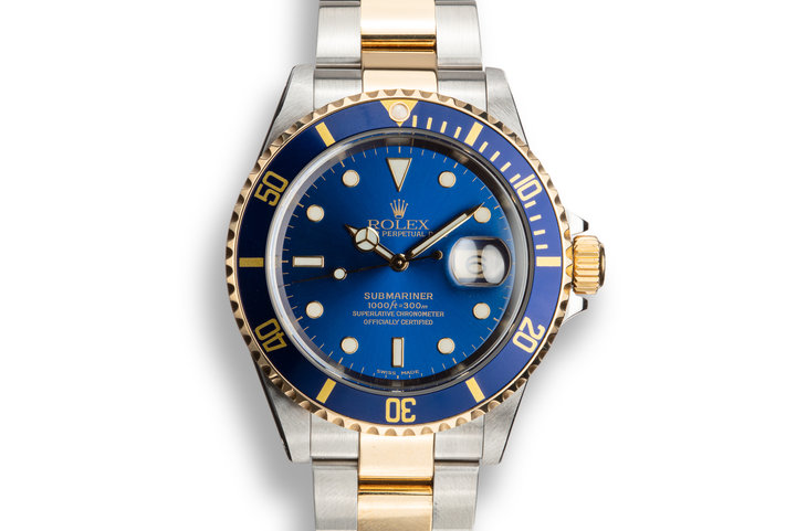 2000 Rolex Two-tone Submariner 16613 Blue Dial with Box and Papers photo