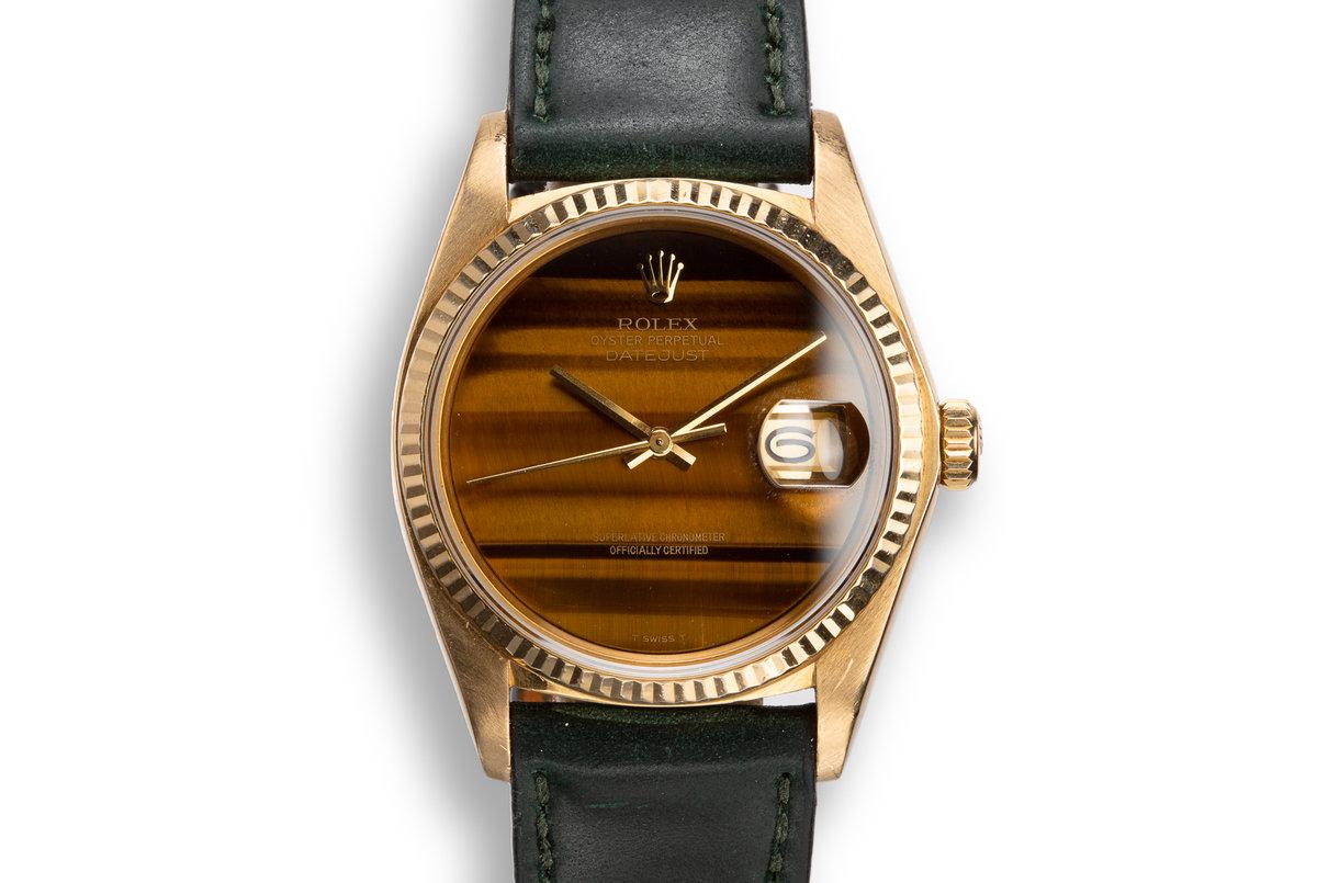 1979 Rolex 18K YG DateJust 16018 with Tigers Eye Stone Dial photo, #0