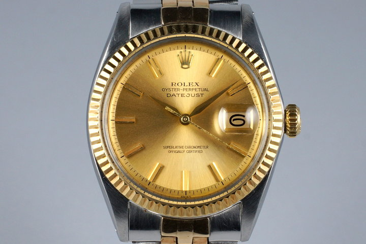 1962 Rolex Two Tone DateJust 1601 Non-Luminous Champagne Dial photo