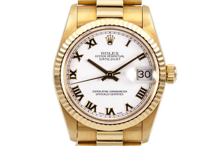1995 Rolex YG MidSize Datejust 68278 White Roman Dial with Box and Papers photo