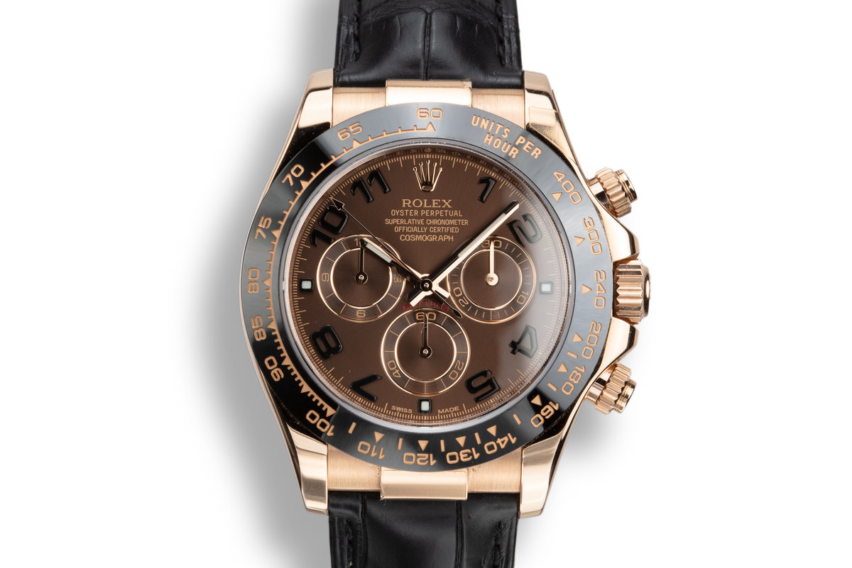 2010 Rolex 18K Rose Gold Daytona 116515 Chocolate Arabic Dial with Box and Papers photo, #0