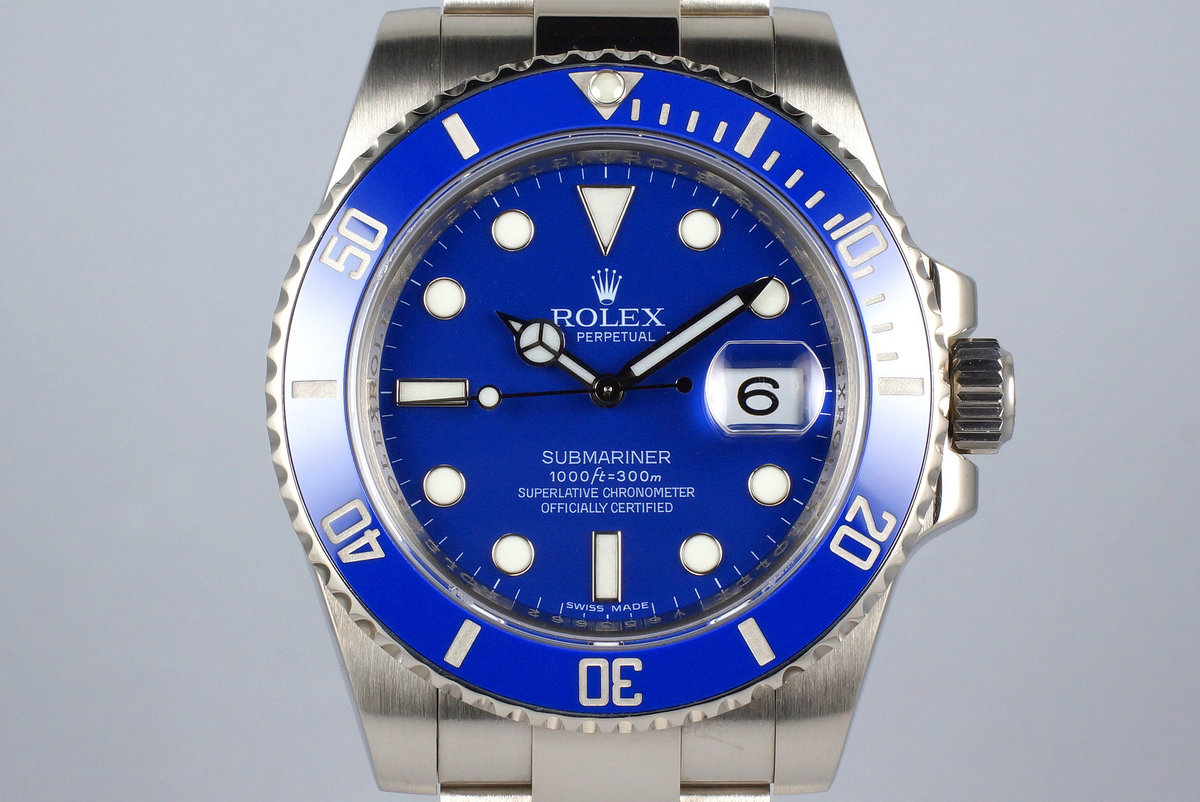 2016 Rolex WG Blue Submariner 116619 with Box and Papers photo, #0