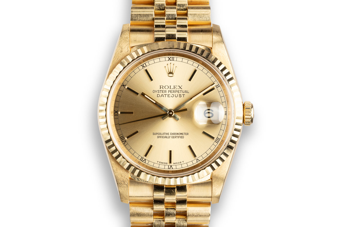 1995 Rolex 18K YG DateJust 16238 Champagne Dial photo, #0