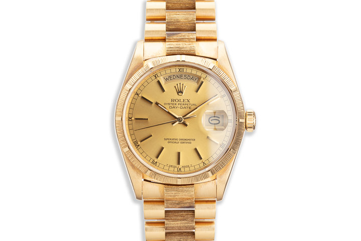 1988 Rolex 18K YG Bark Day-Date 18078 Gold Dial with Box and Papers photo