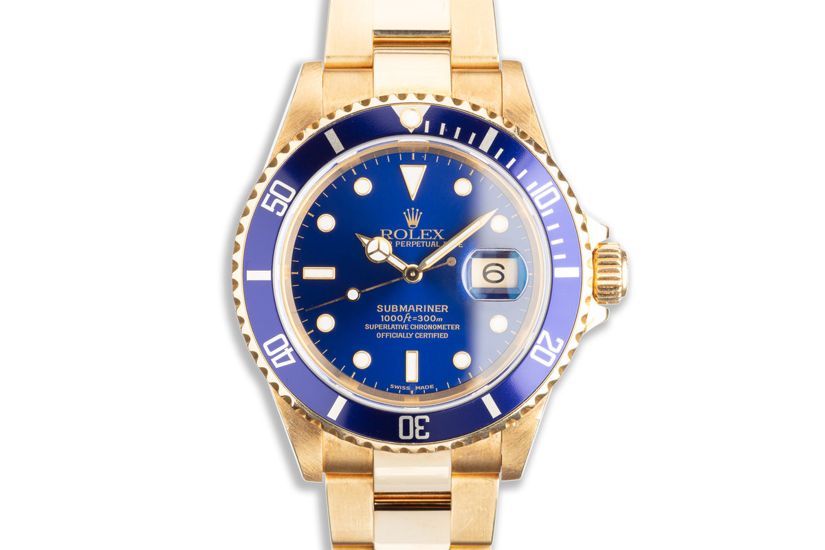 2003 Rolex 18K Submariner 16618T Blue Dial with Box & Papers photo, #0