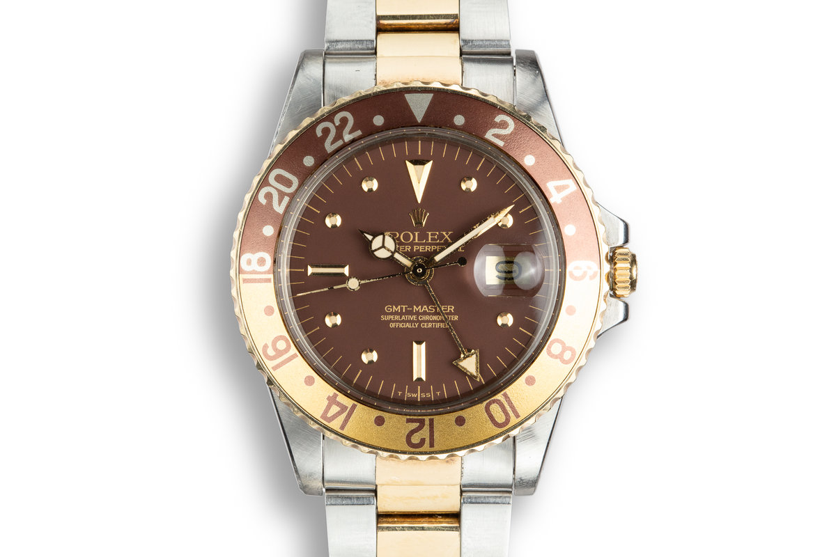 1978 Rolex Two-Tone GMT-Master 1675 with Matte Root Beer Nipple Dial photo, #0