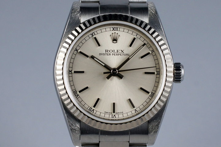 1999 Rolex MidSize Oyster Perpetual 77014 Silver Dial photo