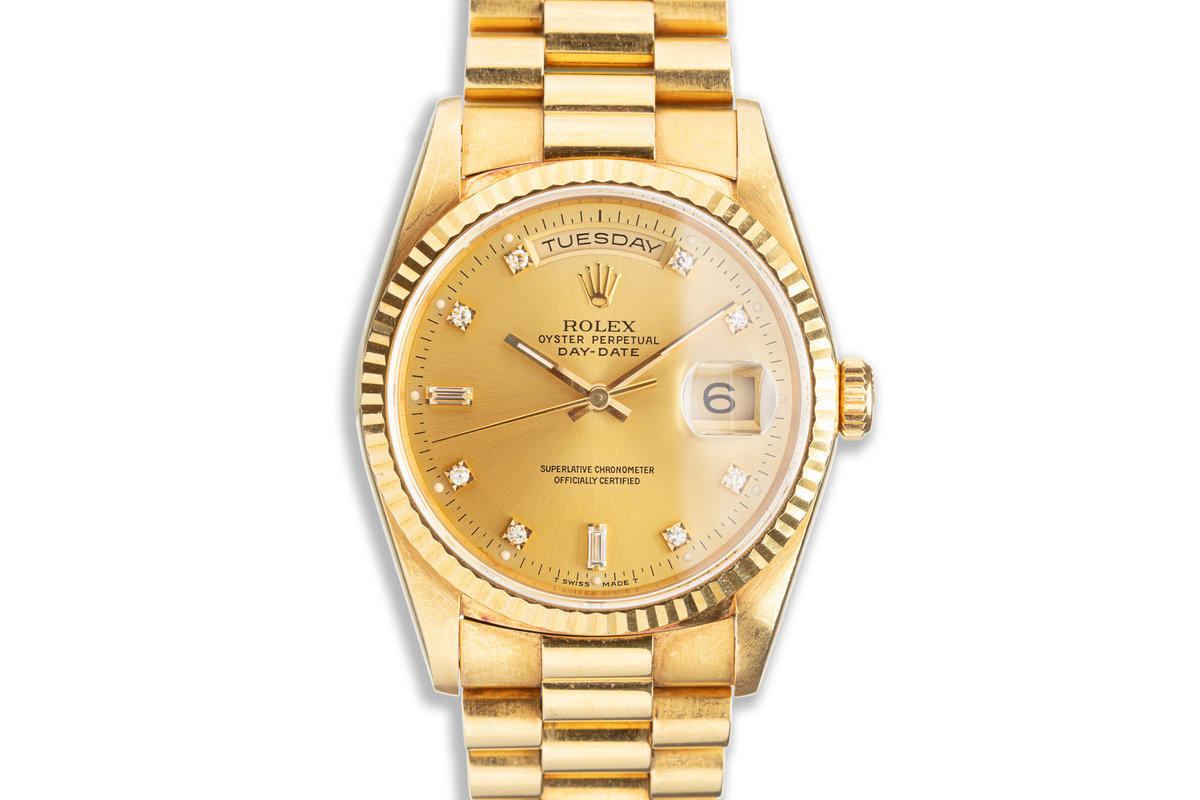 1990 Rolex 18K YG Day-Date 18238A with Metallic Gold Diamond Dial photo, #0