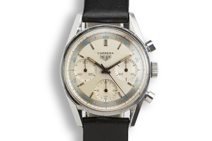 "Heuer Carrera 2447 D with Early ""Pie Pan"" Dial and Sun Stamp Buckle photo"