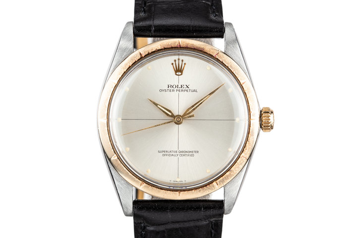 1967 Rolex Two Tone Oyster Perpetual 1008 Silver Zephyr Dial photo
