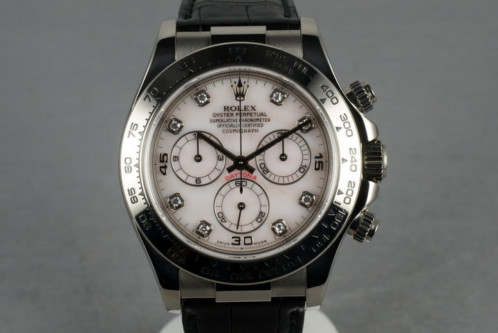 2002 Rolex WG Daytona Ref: 116519 with Mother of Pearl Diamond Dial photo