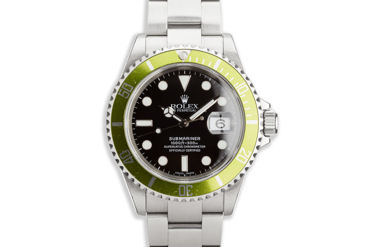 "2006 Rolex Anniversary Green Submariner 16610LV ""Lime"" with Box and Card photo"