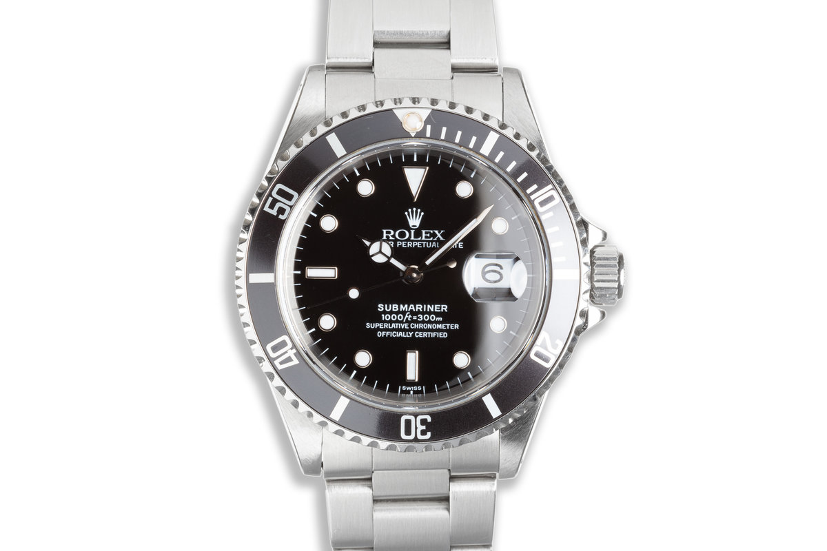 """1999 Rolex Submariner 16610 with Box & Papers """"Swiss Only"""" Dial Box, Papers & Service Card photo, #0"""