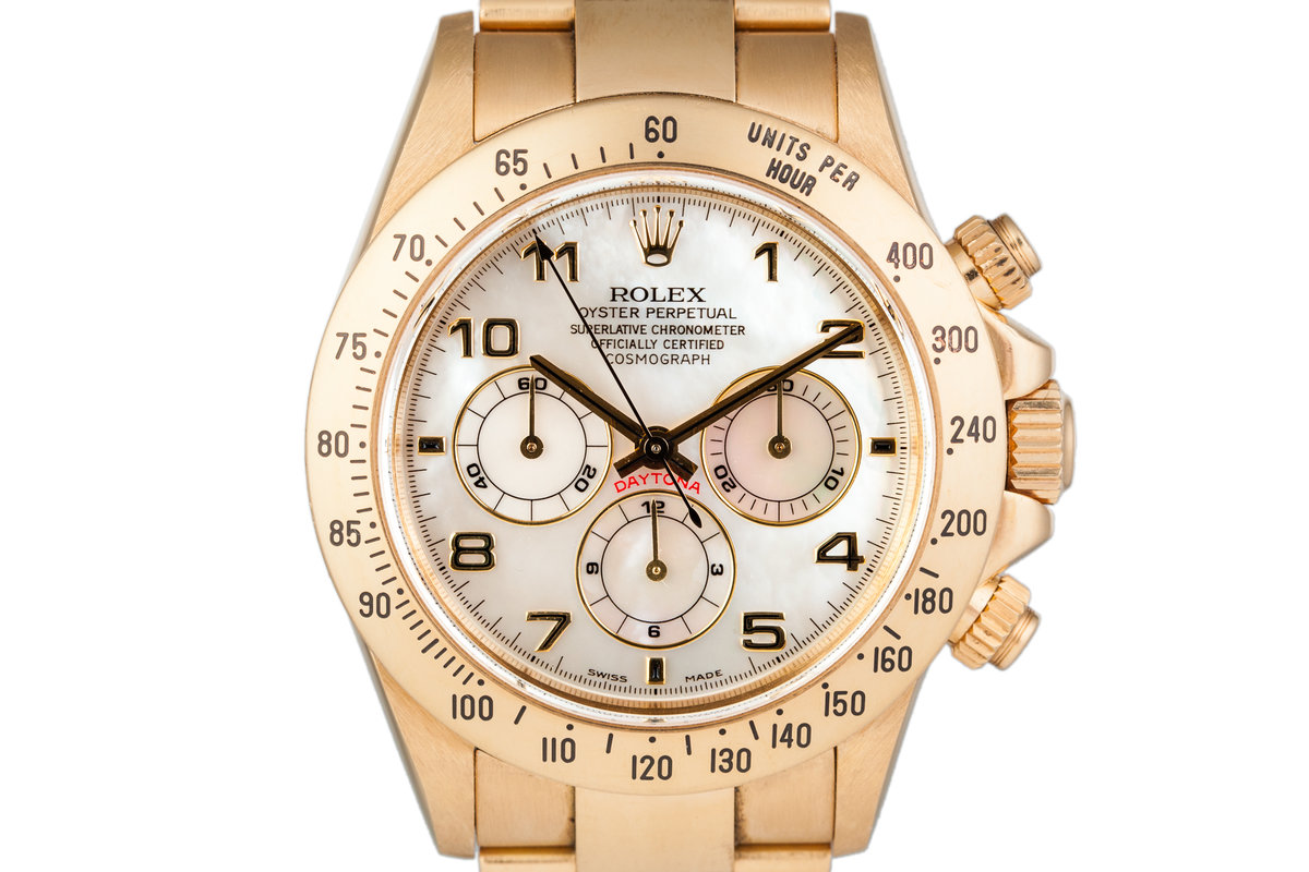 1999 Rolex 18K YG Daytona with Mother of Pearl Dial and Box and Papers photo, #0