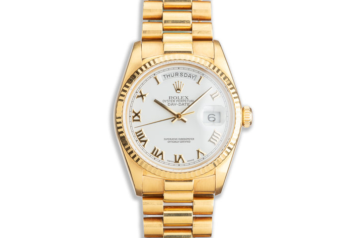 1987 Unpolished Rolex 18K YG Day-Date 18038 with White Roman Dial photo