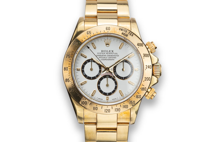 "1993 Rolex 18K YG Daytona 16528 White ""Inverted 6"" Dial with Box and Papers photo"