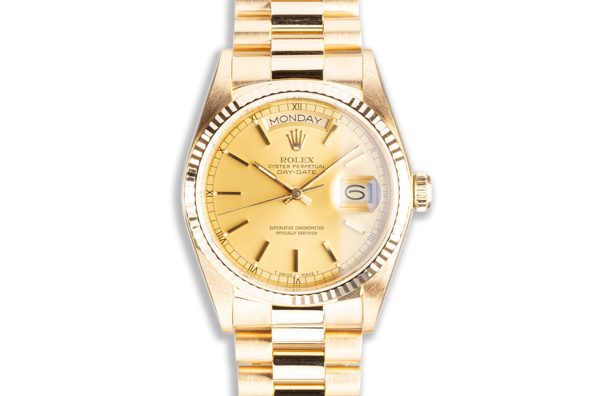 1985 Rolex 18K YG Day-Date 18038 Gold Stick Dial with Box & Papers photo, #0