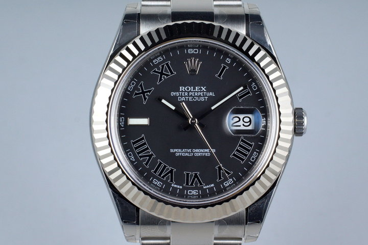 2014 Rolex Datejust II 116334 Gray Roman Dial with Box and Papers MINT photo